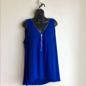 Libian Blue Sleeveless Top Size L Zipper Front